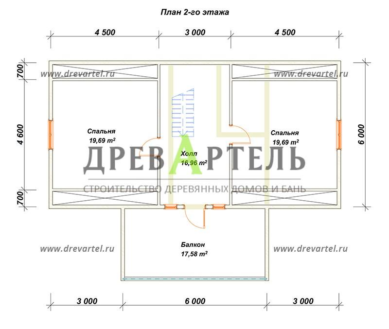 План 2-го этажа - Деревянный дом из бруса 6х8