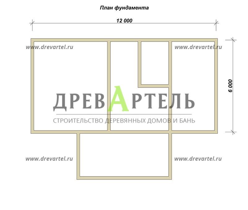План ленточного фундамента - Деревянный дом из бруса 6х8