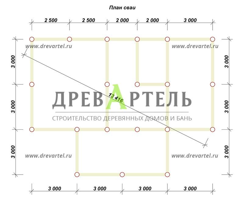 План свайного фундамента - Деревянный дом из бруса 6х8