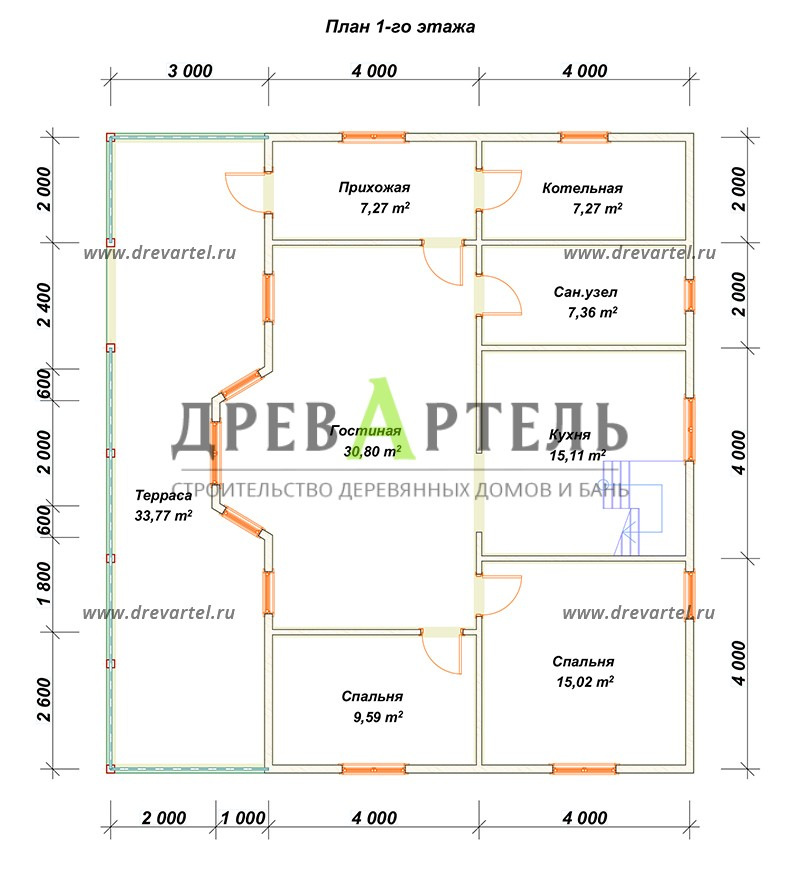 План 1-го этажа - Дом с мансардой 11х12