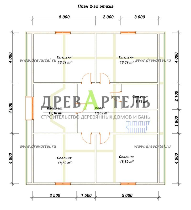План 2-го этажа - Дом с мансардой 11х12
