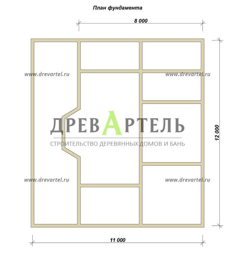 План ленточного фундамента - Дом с мансардой 11х12