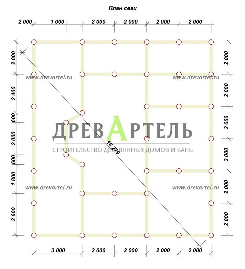 План свайного фундамента - Дом с мансардой 11х12