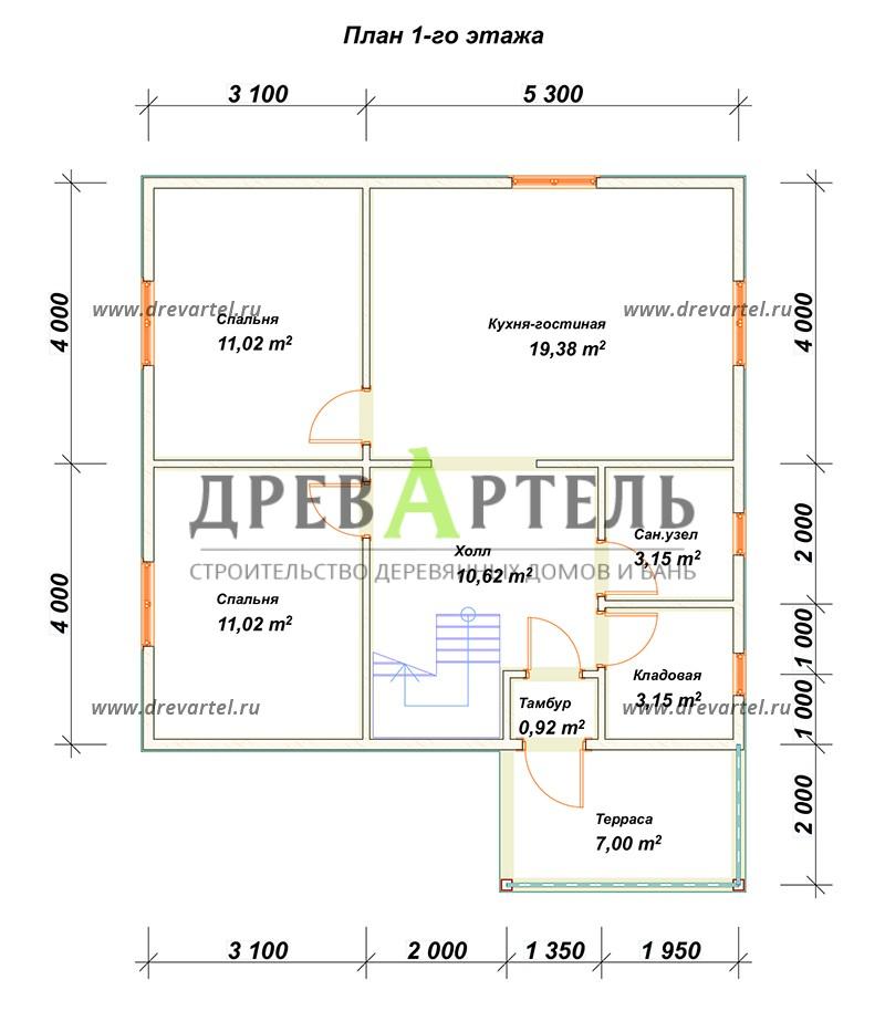 План 1-го этажа - Дачный домик 8х8 из бруса