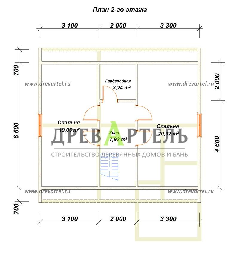 План 2-го этажа - Дачный домик 8х8 из бруса