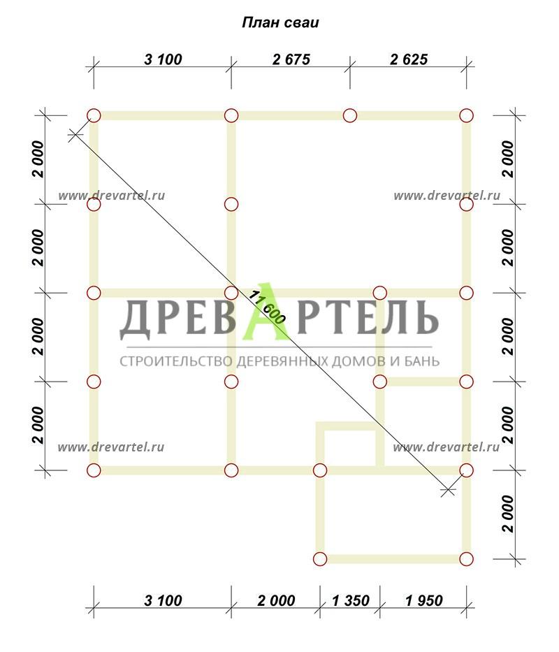 План свайного фундамента - Дачный домик 8х8 из бруса