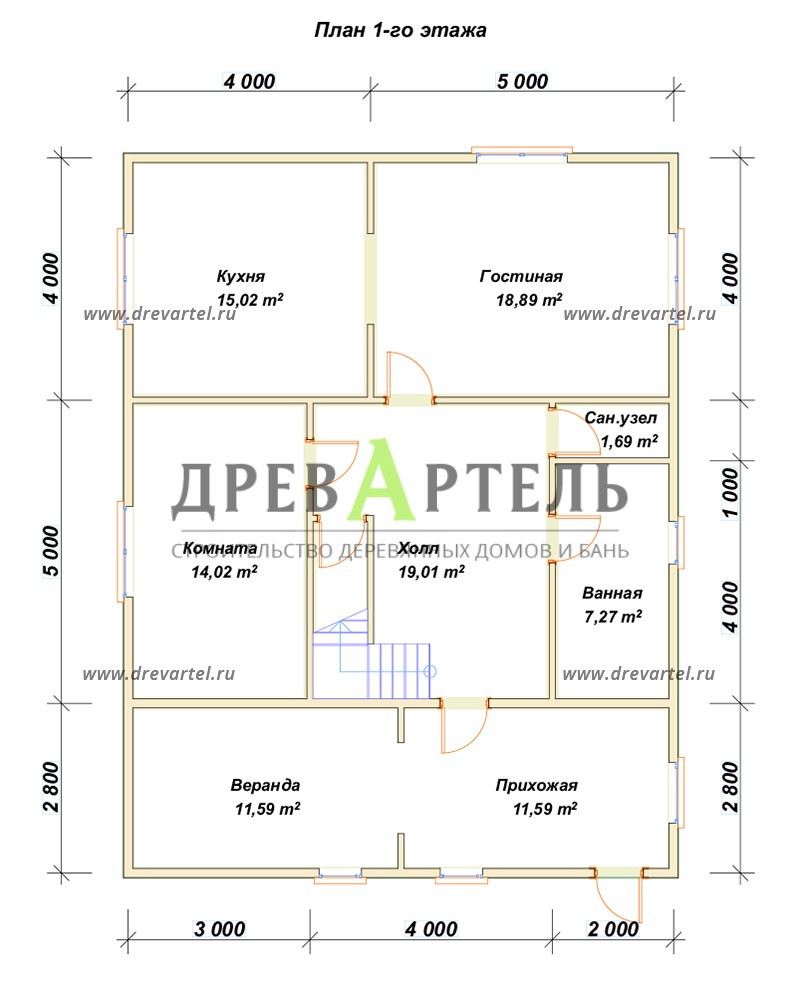 План 1-го этажа - Двухэтажный дом из бруса 9х9