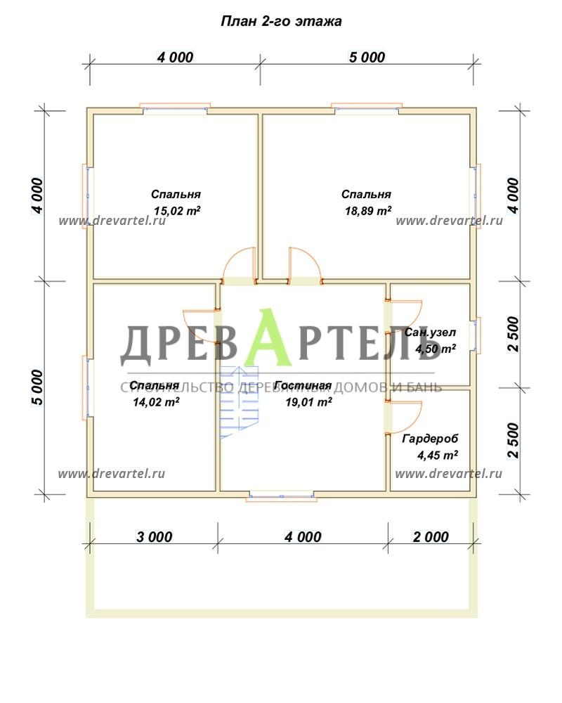 План 2-го этажа - Двухэтажный дом из бруса 9х9