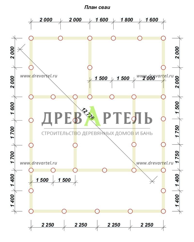 План свайного фундамента - Двухэтажный дом из бруса 9х9