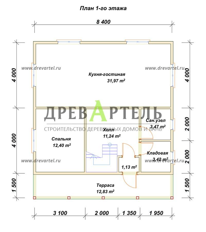 План 1-го этажа - Дом из профилированного бруса 8х8 с террасой
