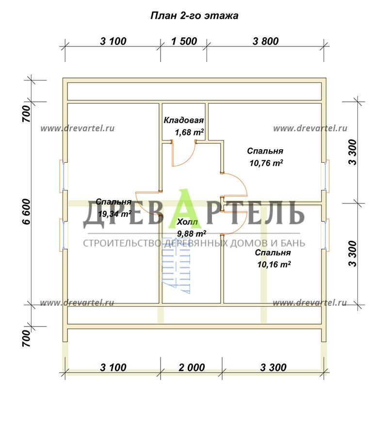 План 2-го этажа - Дом из профилированного бруса 8х8 с террасой