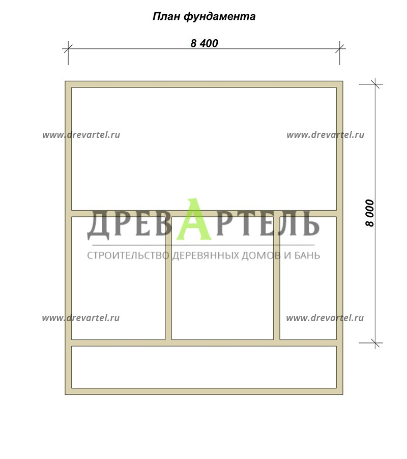 План ленточного фундамента - Дом из профилированного бруса 8х8 с террасой