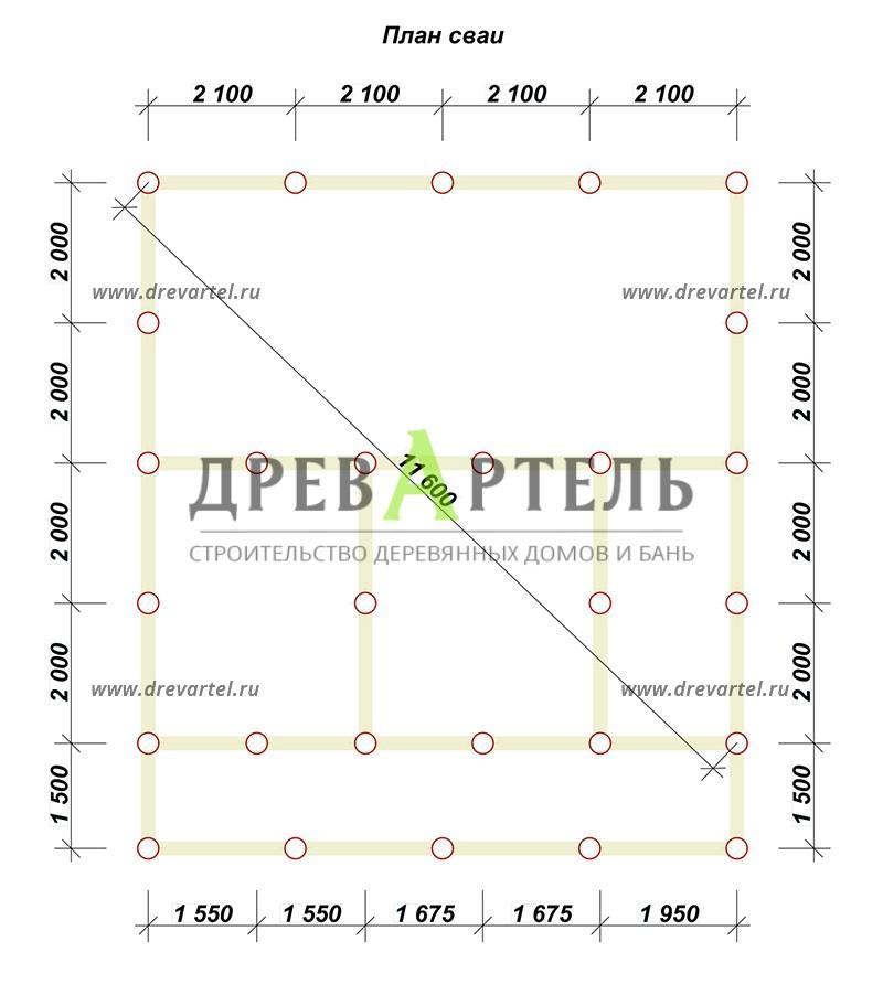 План свайного фундамента - Дом из профилированного бруса 8х8 с террасой