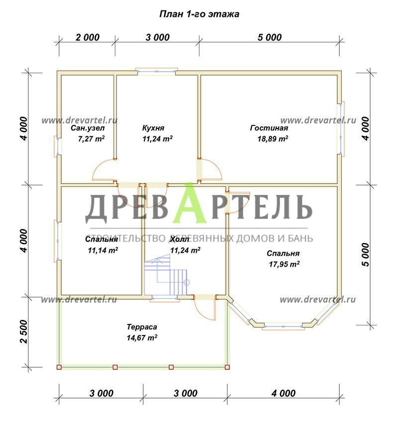 План 1-го этажа - Дом из бруса 8х10 с эркером