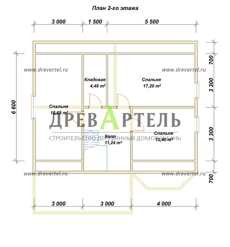 План 2-го этажа - Дом из бруса 8х10 с эркером