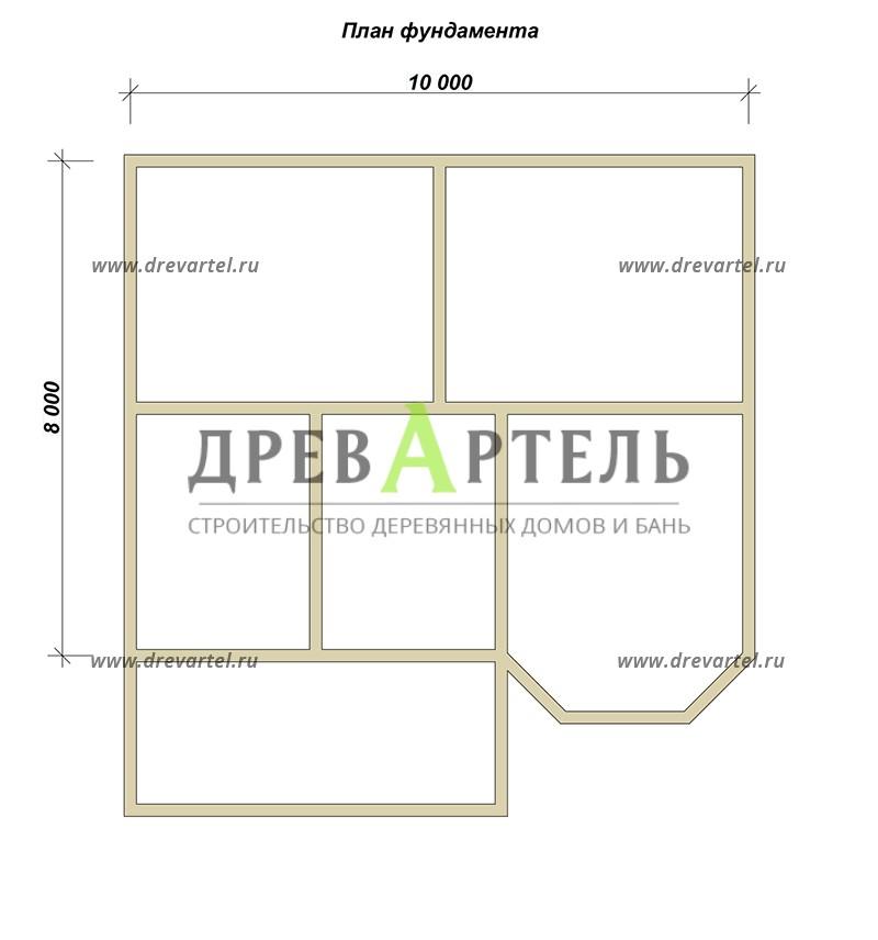 План ленточного фундамента - Дом из бруса 8х10 с эркером