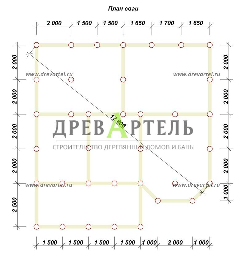План свайного фундамента - Дом из бруса 8х10 с эркером