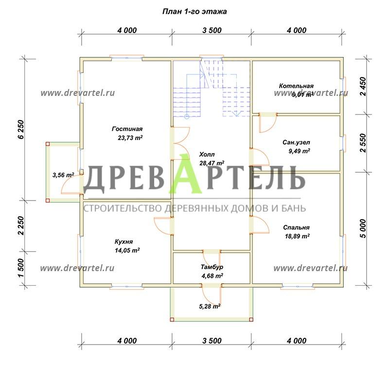 План 1-го этажа - Загородный дом из бруса 10 на 11