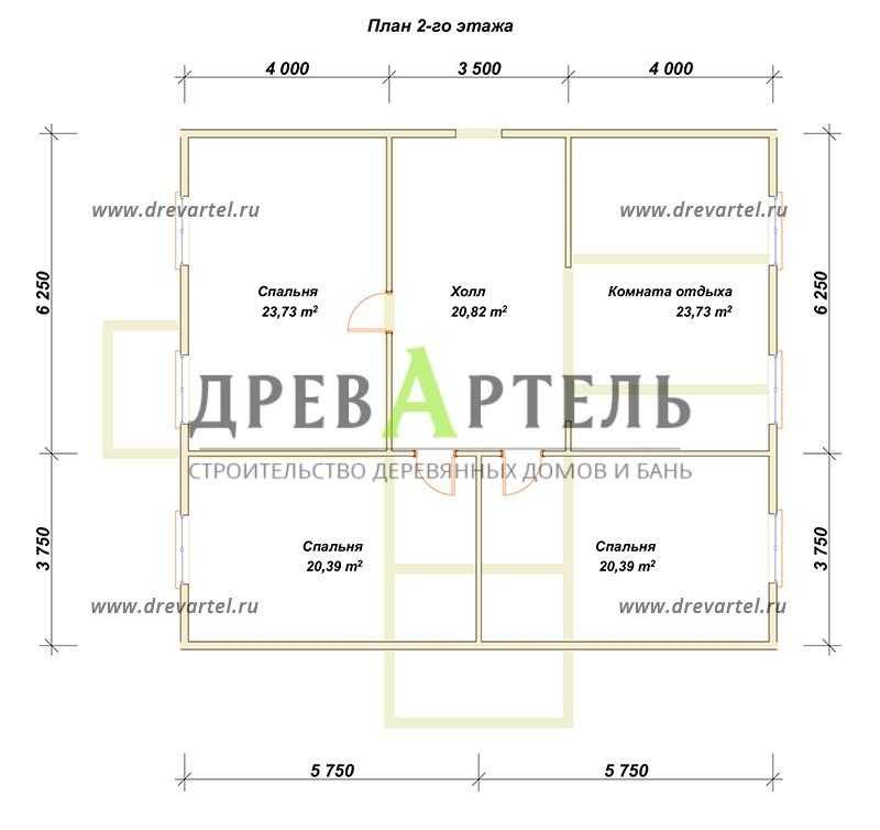 План 2-го этажа - Загородный дом из бруса 10 на 11