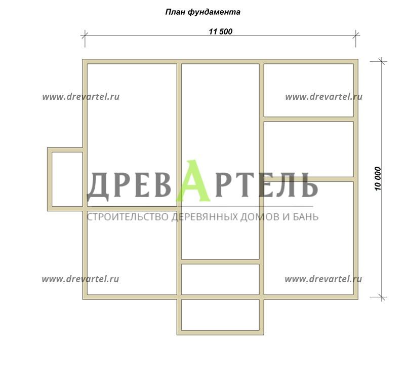 План ленточного фундамента - Загородный дом из бруса 10 на 11