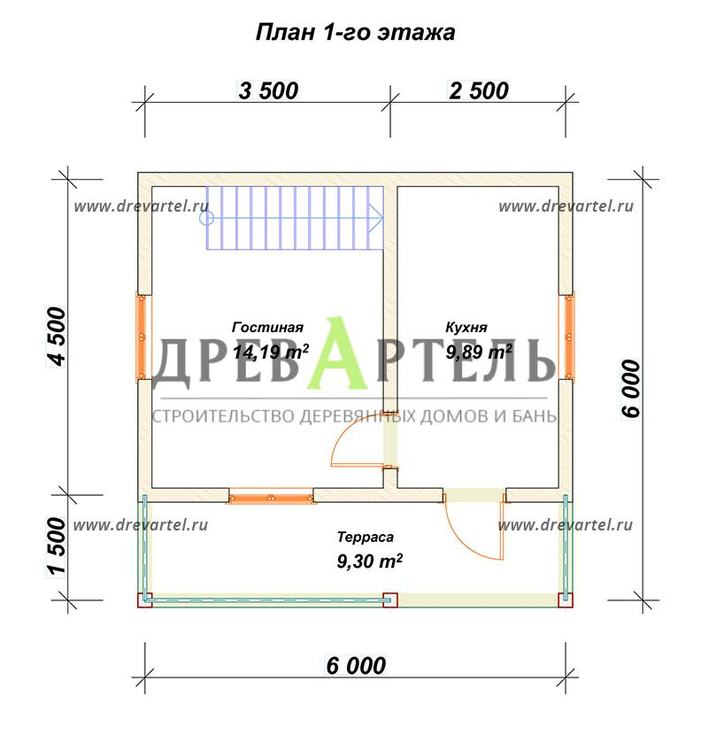 План 1-го этажа - Дом из бруса 6х6 с террасой и балконом