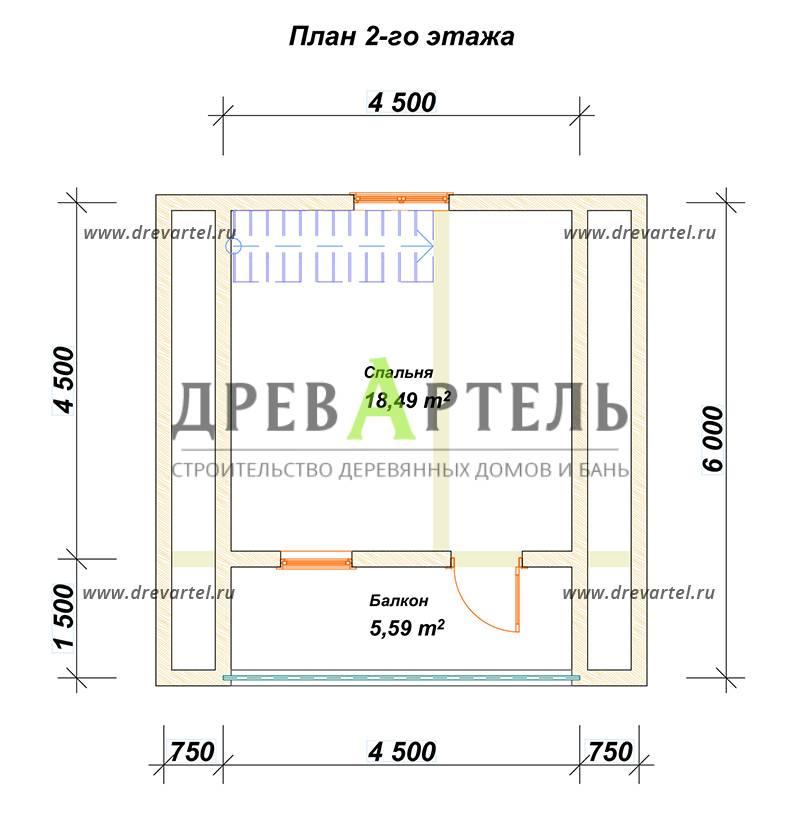План 2-го этажа - Дом из бруса 6х6 с террасой и балконом