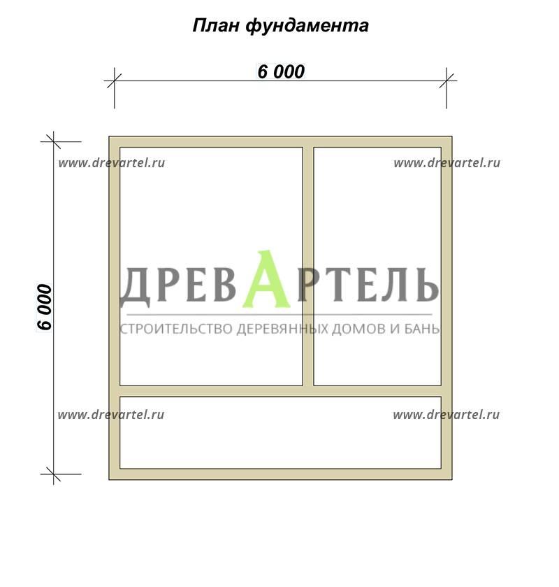 План ленточного фундамента - Дом из бруса 6х6 с террасой и балконом