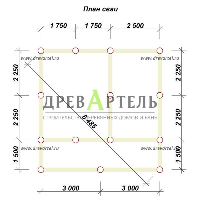 План свайного фундамента - Дом из бруса 6х6 с террасой и балконом