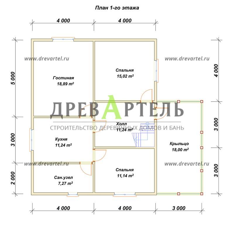 План 1-го этажа - Брусовой дом 8х10 с мансардой