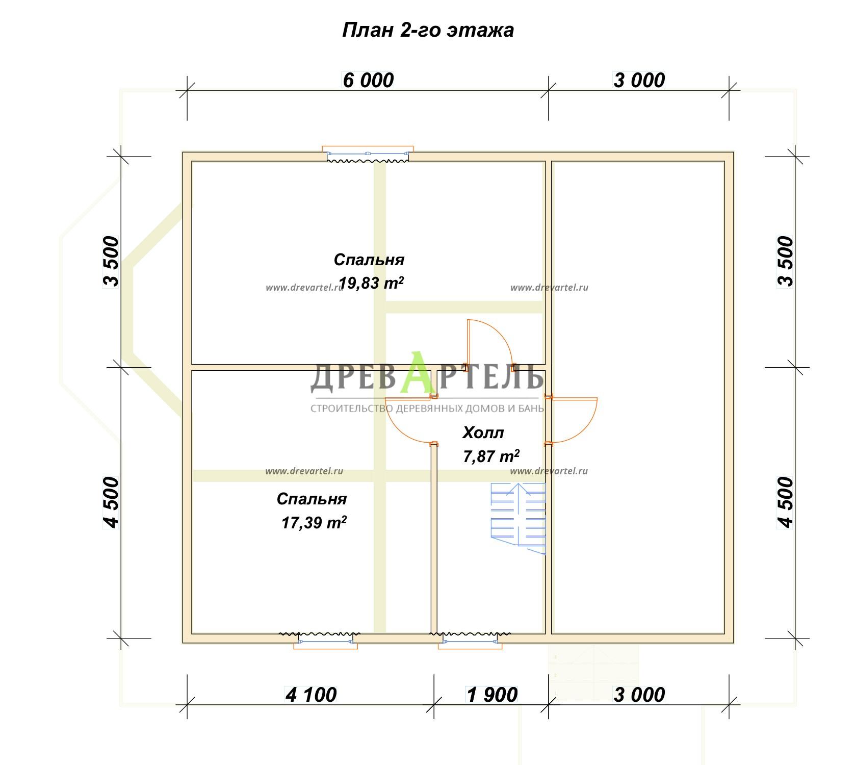 План 2-го этажа - Брусовой дом 8х10 с мансардой