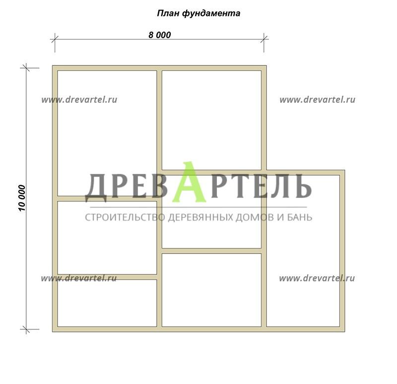 План ленточного фундамента - Брусовой дом 8х10 с мансардой