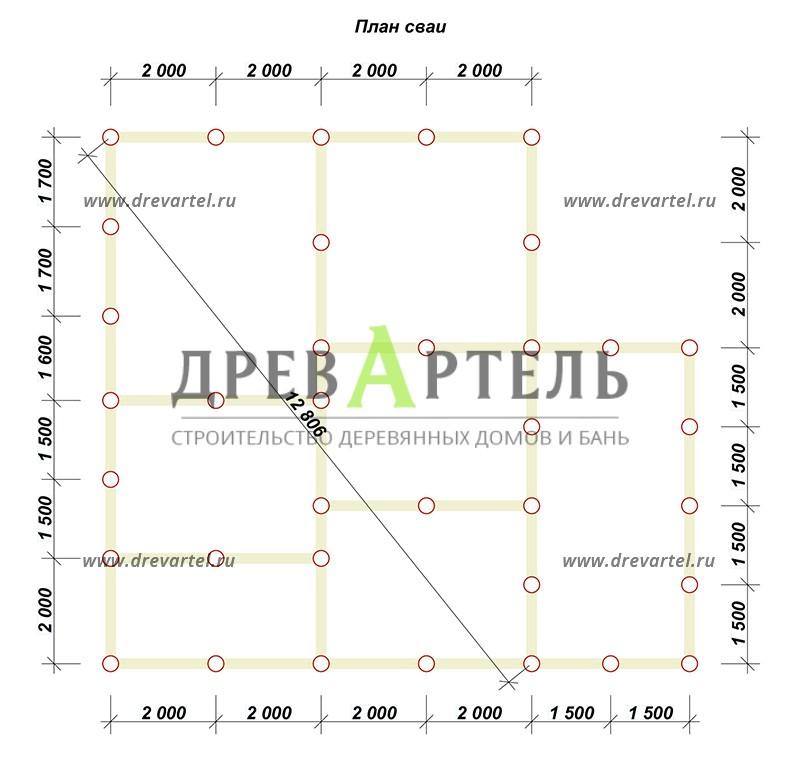 План свайного фундамента - Брусовой дом 8х10 с мансардой