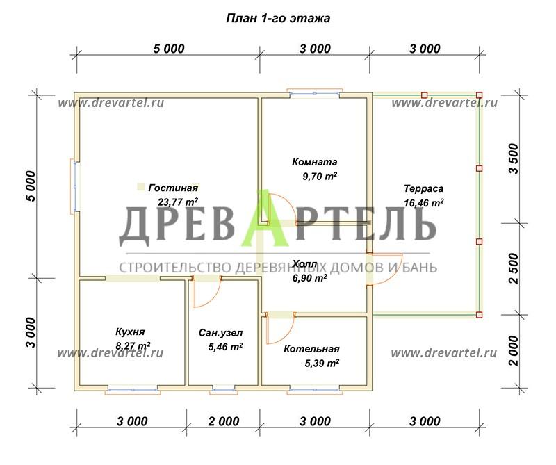План 1-го этажа - Деревянный полутораэтажный дом из бруса 8х8