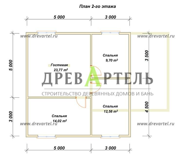 План 2-го этажа - Деревянный полутораэтажный дом из бруса 8х8