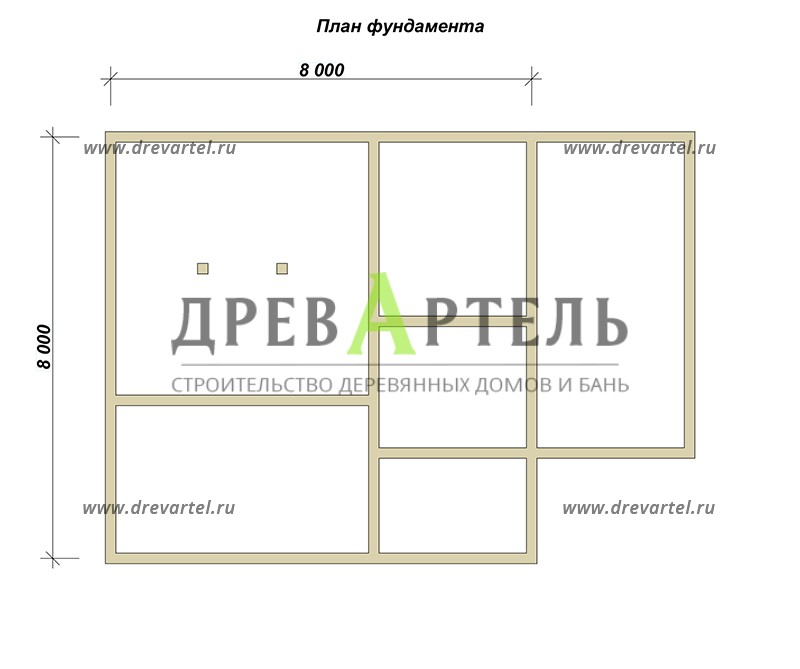 План ленточного фундамента - Деревянный полутораэтажный дом из бруса 8х8