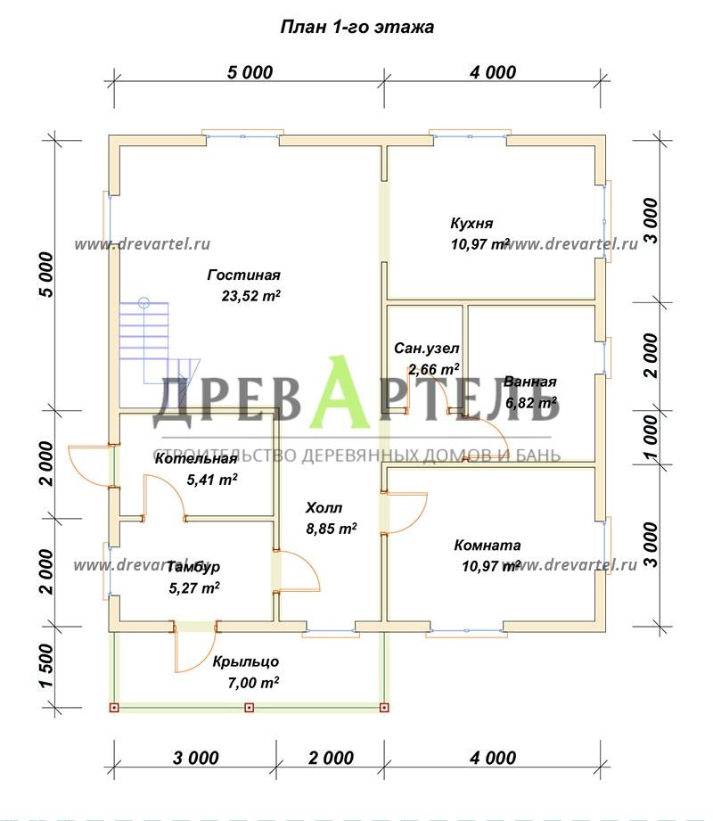 План 1-го этажа - Дом из бруса 9х9 с балконом