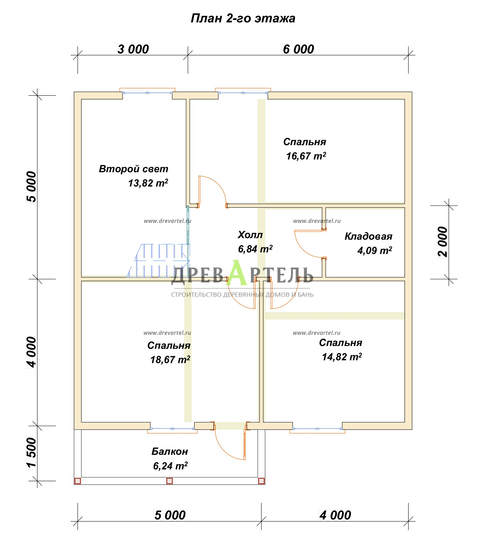 План 2-го этажа - Дом из бруса 9х9 с балконом