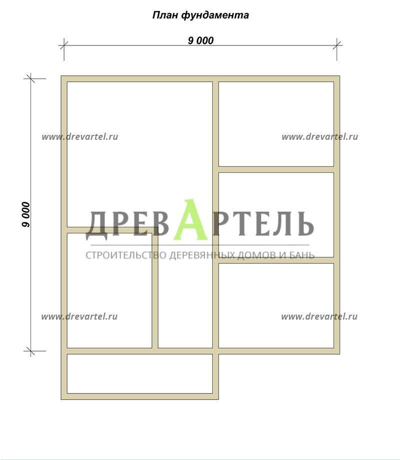План ленточного фундамента - Дом из бруса 9х9 с балконом