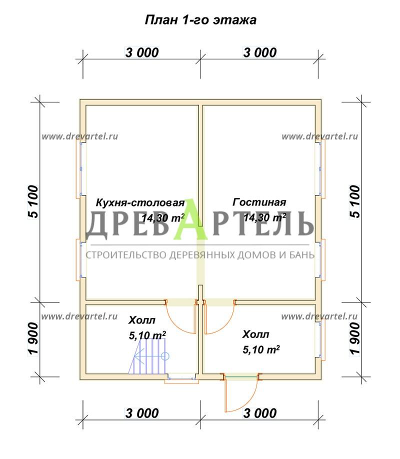 План 1-го этажа - Дачный дом из бруса 6х7