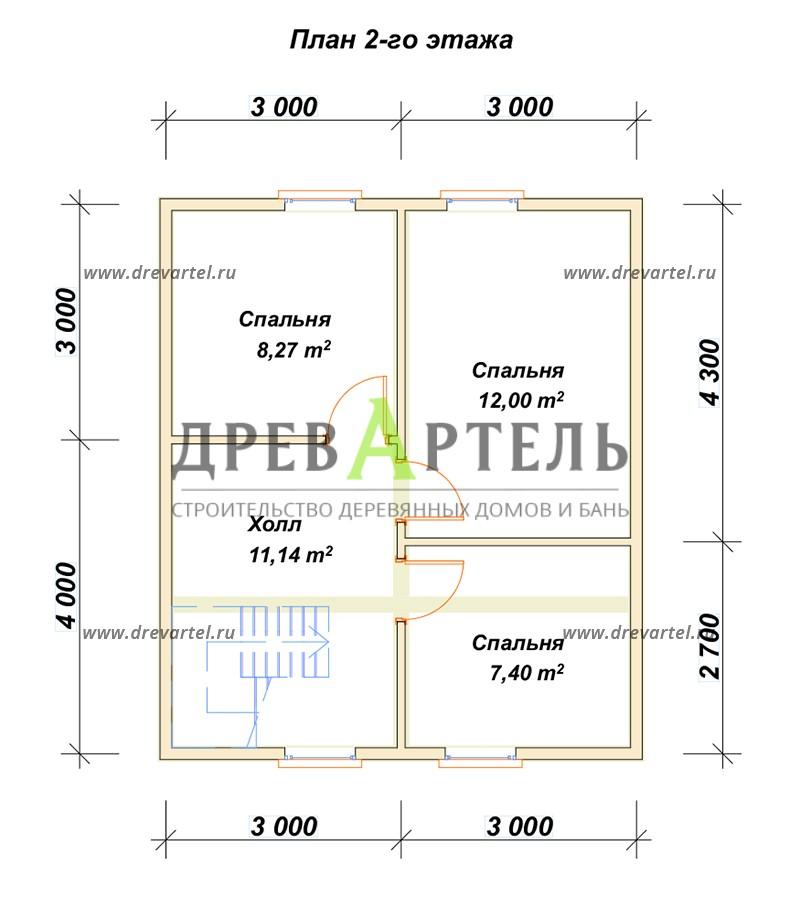 План 2-го этажа - Дачный дом из бруса 6х7
