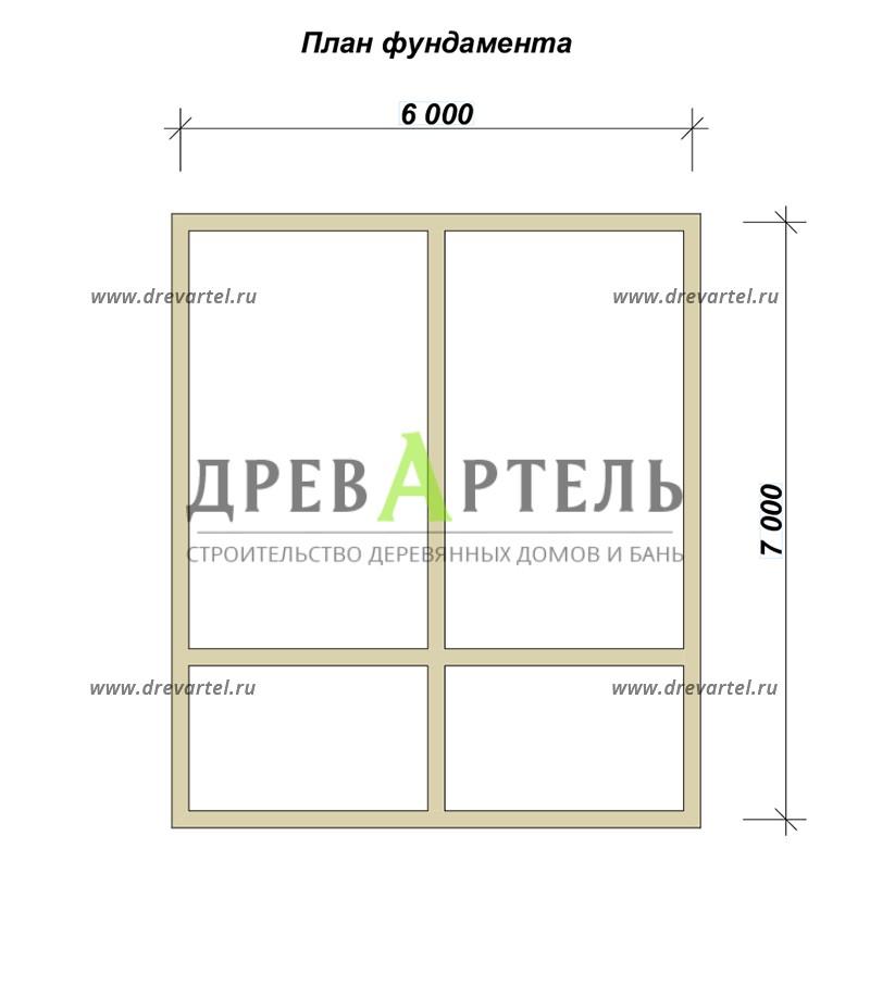 План ленточного фундамента - Дачный дом из бруса 6х7