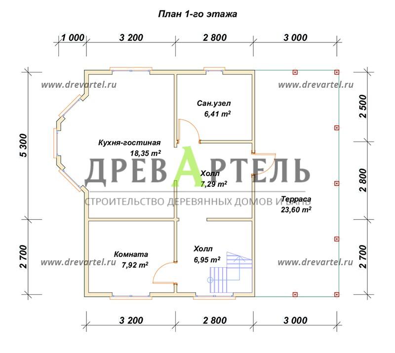 План 1-го этажа - Дачный дом из бруса 6х8 с мансардой