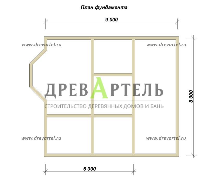 План ленточного фундамента - Дачный дом из бруса 6х8 с мансардой