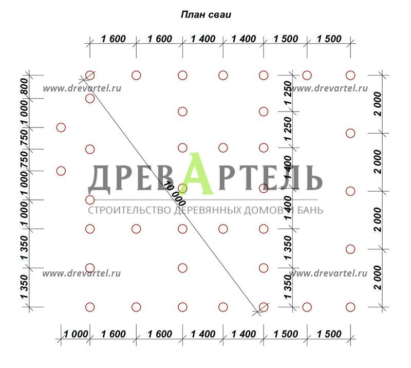 План свайного фундамента - Дачный дом из бруса 6х8 с мансардой