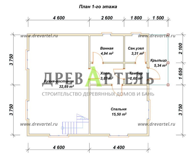План 1-го этажа - Дом из бруса с мансардой 7х9