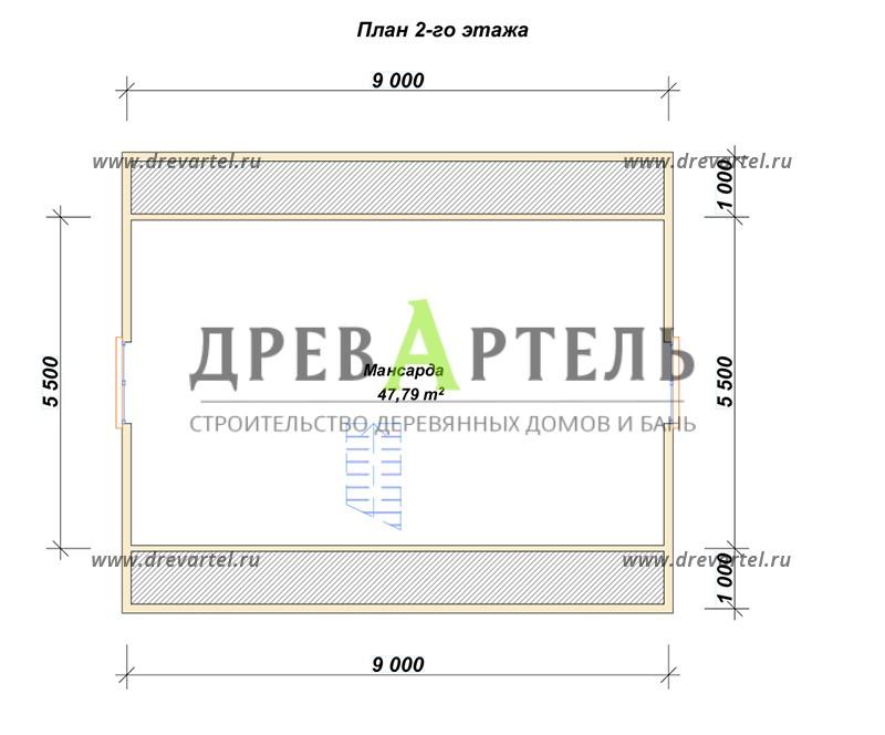 План 2-го этажа - Дом из бруса с мансардой 7х9