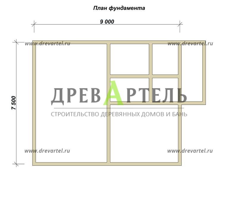 План ленточного фундамента - Дом из бруса с мансардой 7х9