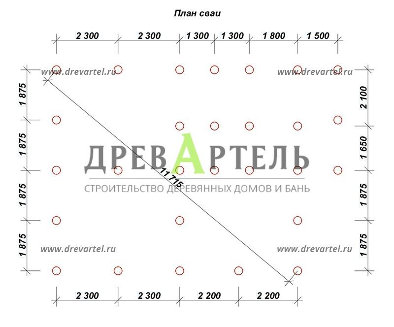 План свайного фундамента - Дом из бруса с мансардой 7х9
