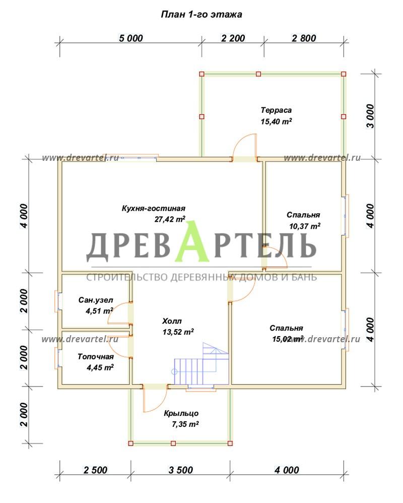 План 1-го этажа - Дом 8х9 с котельной и отличной планировкой