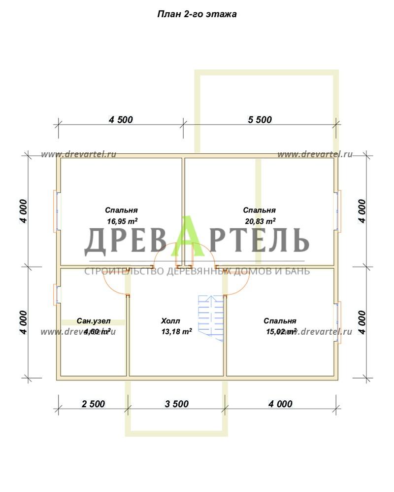 План 2-го этажа - Дом 8х9 с котельной и отличной планировкой